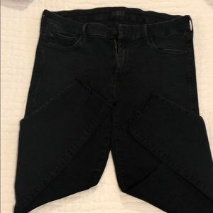 Mothers Black , Skinny, Frayed Ankle Jeans